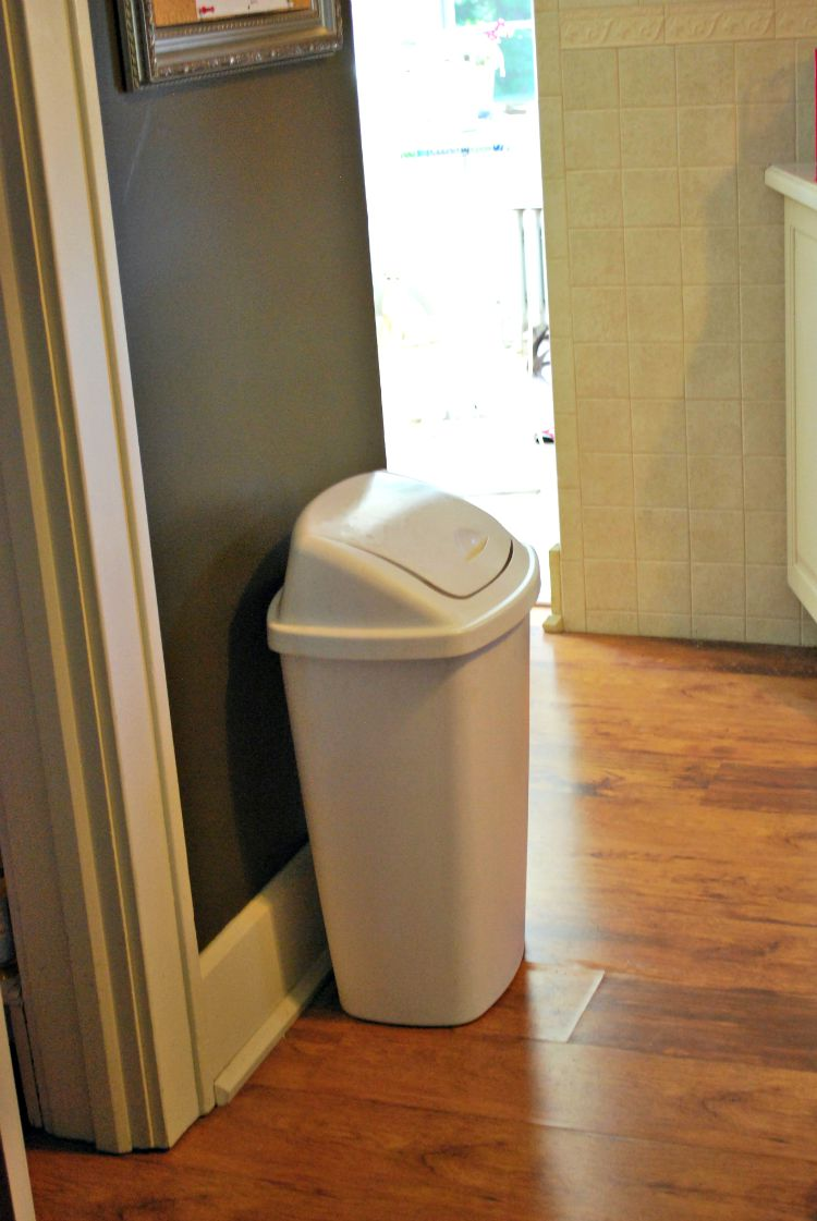 DIY Wooden Waste Basket Cabinet || Creatively Homespun #TheKendigsNewDigs  #diy #kitchenreno #